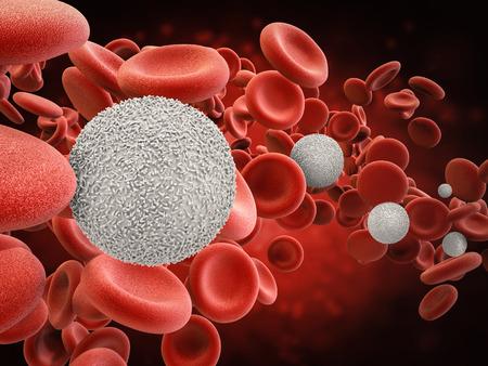 3d rendant des globules blancs avec des globules rouges