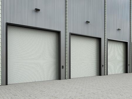 3d rendering warehouse exterior with shutter doors