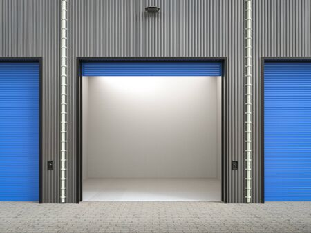empty warehouse: 3d rendering warehouse interior with shutter doors Stock Photo