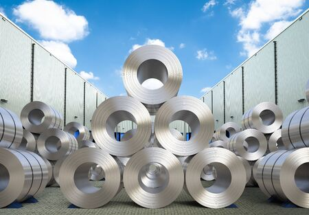 3d rendering rolls of steel sheet in warehouse