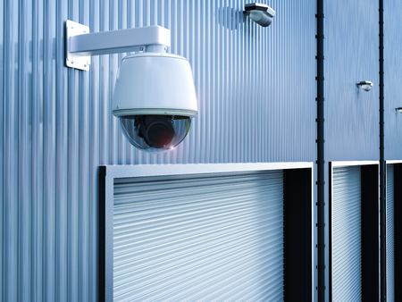 3d rendering security camera or cctv camera in warehouse Фото со стока - 81697066