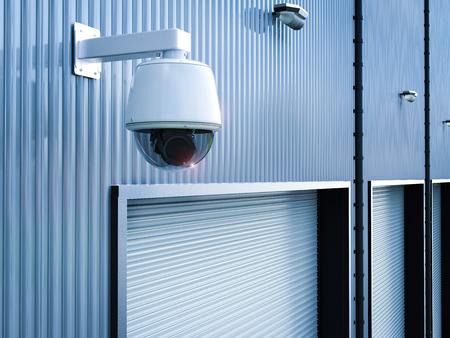 3d rendering security camera or cctv camera in warehouse Stok Fotoğraf