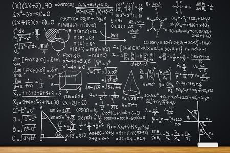 3 차원 렌더링 칠판 수학 수식 또는 교육 배경