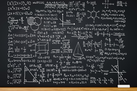 3d rendering blackboard with math formula or education background