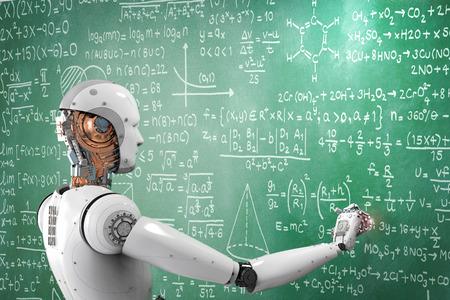 3d rendering robot learning or solving problems Foto de archivo
