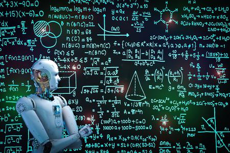 Roboter der Wiedergabe 3d, der Probleme lernt oder löst Standard-Bild - 82276801