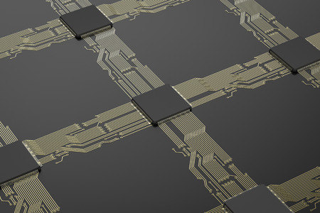 3d rendering cpu chips on black circuit board Stock Photo
