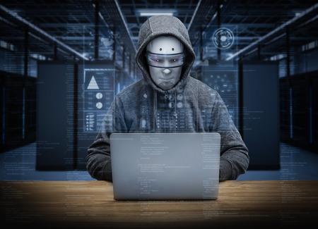 서버 룸에서 3D 렌더링 휴머노이드 로봇 해커 스톡 콘텐츠