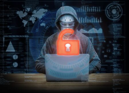 3d rendering keypad unlock with success cyborg hacker