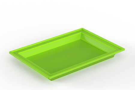 3d rendering green plastic tray on white background Stock Photo
