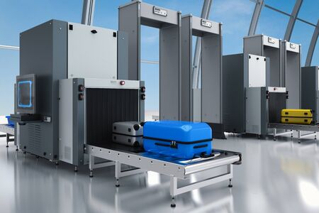 3d rendering airport security checkpoint with scanner machines are scanning luggages