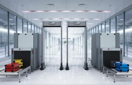 3 차원 렌더링 스캐너 컴퓨터와 공항 보안 검문소는 luggages를 스캔하고 있습니다