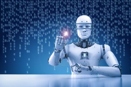 Procesamiento 3d robot trabajando con pantalla virtual Foto de archivo - 83608183