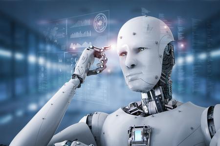 3d que rinde el pensamiento del robot androide con el punto del finter en la cabeza Foto de archivo - 83608185