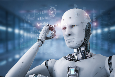finter で 3 d のレンダリング アンドロイド ロボットの思考ポイントの頭で