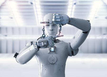 3d rendering humanoid robot measure with finger Reklamní fotografie