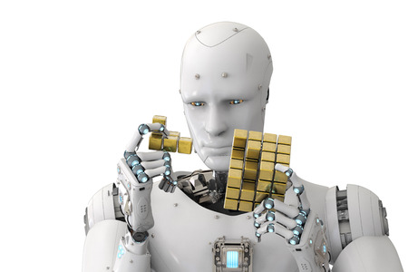 3d rendering humanoid robot playing cube puzzle