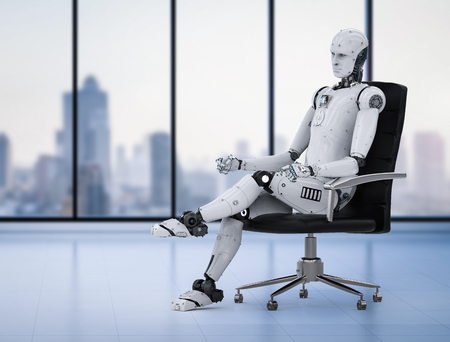 3d rendering humanoid robot sit on office chair Stock Photo