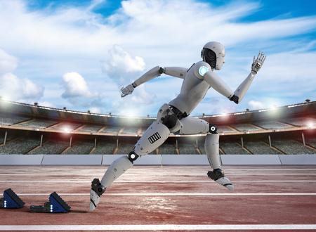 경기장에서 경마장에서 실행되는 3D 렌더링 로봇 스톡 콘텐츠