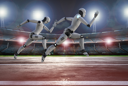 competitive: 3d rendering robot running on racecourse in stadium Stock Photo