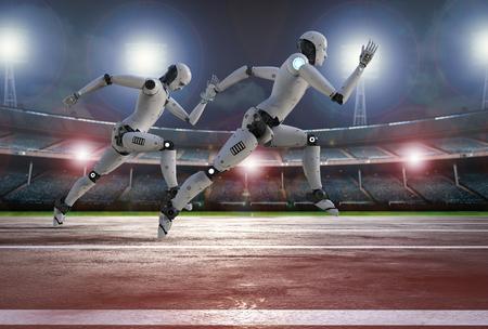3d rendering robot running on racecourse in stadium Foto de archivo