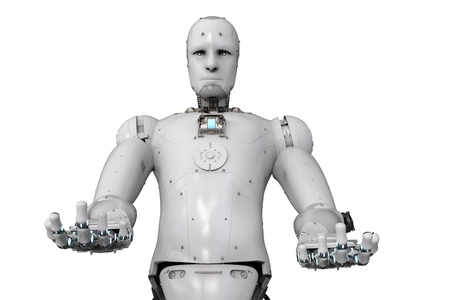 3d rendering humanoid robot open hands on white background