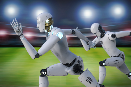 3d rendering robot running on racecourse in stadium Stock Photo
