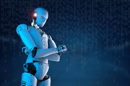 representación 3d del brazo del robot humanoide levantado con el fondo digital