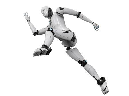 흰색 배경에 실행하는 3d 렌더링 휴머노이드 로봇 스톡 콘텐츠 - 83814141