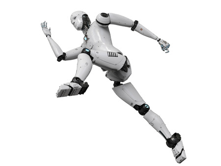 3d rendering humanoid robot running on white background