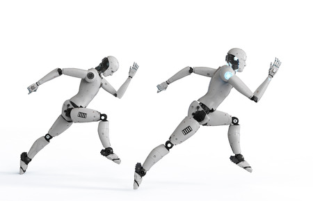3d rendering cyborg running with fast speed in competition