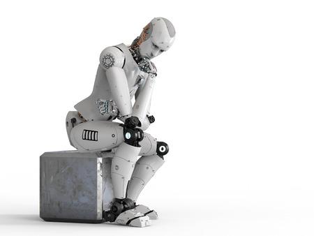 3 차원 렌더링 안드로이드 로봇 앉아서 생각하고
