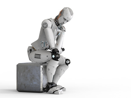 3d rendering android robot sit down and thinking
