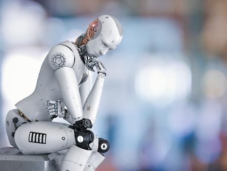 Robot de Android renderizado 3D sentarse y pensar Foto de archivo - 84260028