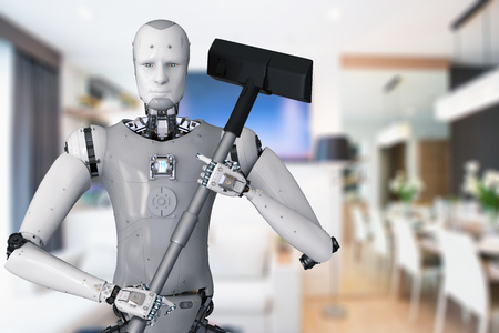 3d rendering android robot holding vacuum cleaner Banque d'images