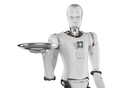 3d rendering humanoid robot holding serving tray