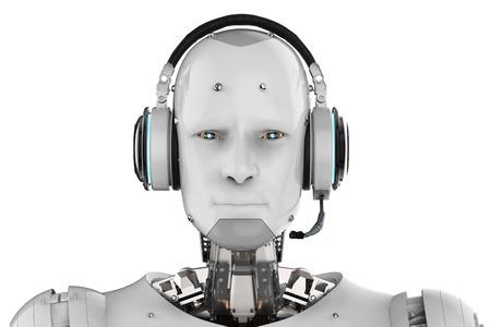 흰색 배경에 헤드셋과 3d 렌더링 휴머노이드 로봇