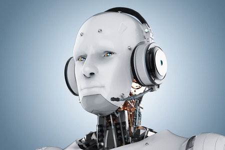 3d rendering humanoid robot with headset on blue background