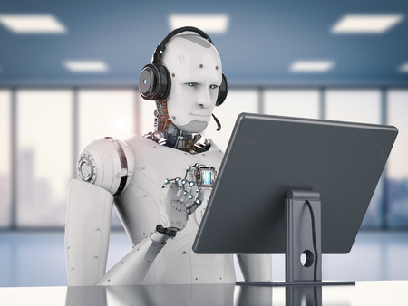 3d rendering humanoid robot working with headset and monitor