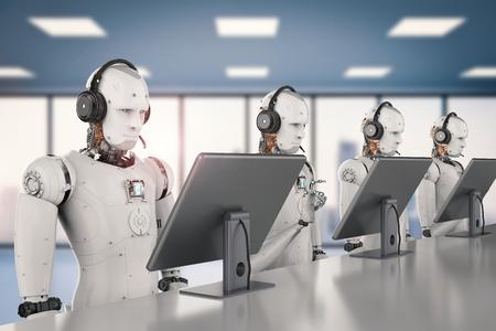 3D-rendering humanoïde robot werken met headset en monitor Stockfoto - 84619126