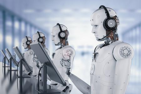 3 d レンダリング ロボット ヘッドセットとモニターの操作 写真素材