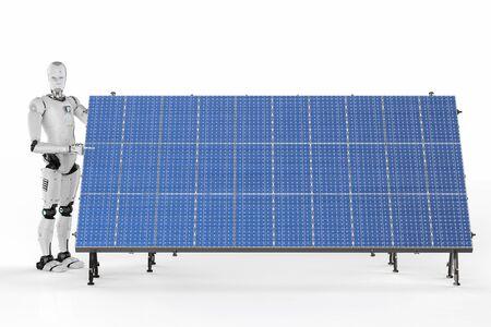 白い背景の上の太陽電池パネルで 3 d レンダリング ロボット 写真素材