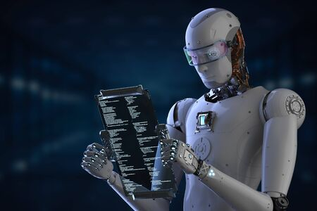 3d rendering humanoid robot working with digital tablet