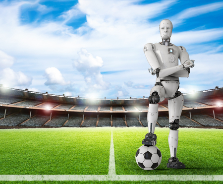 3d rendering humanoid robot with soccer ball Stockfoto