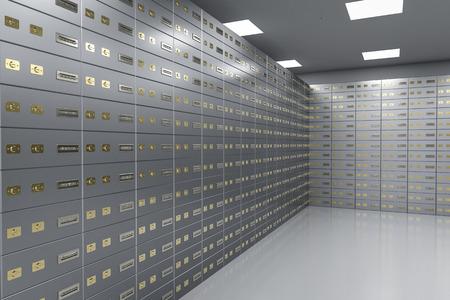 3d rendering safe deposit boxes inside bank vault Stockfoto