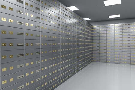3d rendering safe deposit boxes inside bank vault Banque d'images