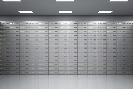 3d rendering safe deposit boxes inside bank vault Stok Fotoğraf