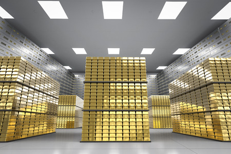 3d rendering heap of gold bullion and safe deposit boxes in room