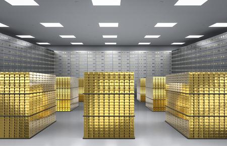Mucchio della rappresentazione 3d della verga d'oro e delle scatole di deposito sicuro nella sala Archivio Fotografico