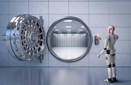 3d teruggevende humanoidrobot die met bankkluis werken